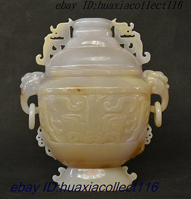 Collect Old China Dynasty Palace 100% Natural Carnelian Wealth Beast Head Bottle
