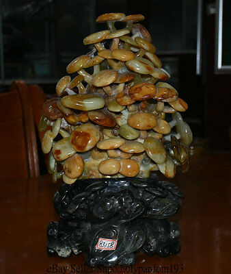 "14"" Chinese 100% Jade Jadetie Hand-carved Full Of Vigour Mushroom Food Sculpture"