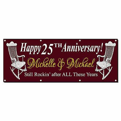 Happy Anniversary Custom Year Custom Funny Red Vinyl Banner Sign With Grommets