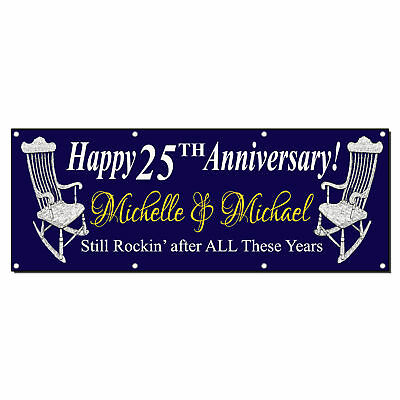 Happy Anniversary Custom Year Funny Navy 13 Oz Vinyl Banner Sign With Grommets