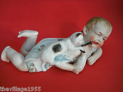 Germany / Antique Bisque Porcelain Piano Baby Pussy Cat Old Milk Bottle