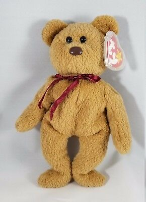 Ty Beanie Babies Collectible Curly Bear Retired, Vhtf, With Errors! Mint!