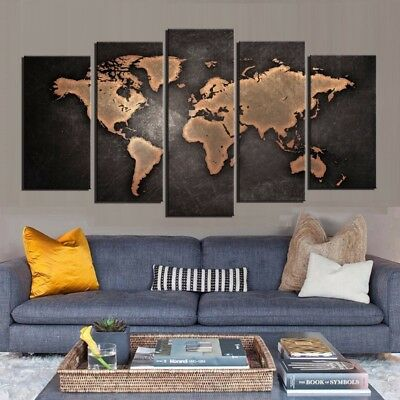 Large 5 Piece World Map Canvas Framed Wall Art Painting Deco