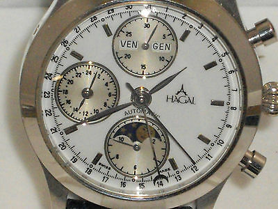 """Hagal Solid 18k. White Gold W/swiss Valjoux 7751 Movement""""very Hard To Find Nice"""