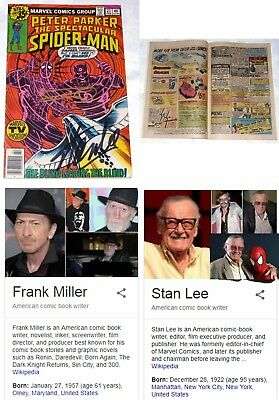Spiderman  #27 From Marvel Comics Signed By Stan Lee & Frank Miller