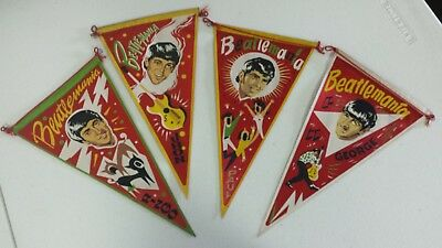 a complete set of beatles hanging pennants (madrid, spain, 1960s)