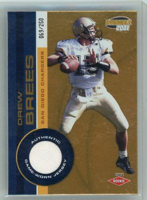 Drew Brees 2001 Pacific Invincible Rookie Card 289 Jersey Mint Gold Foil Rc Rare