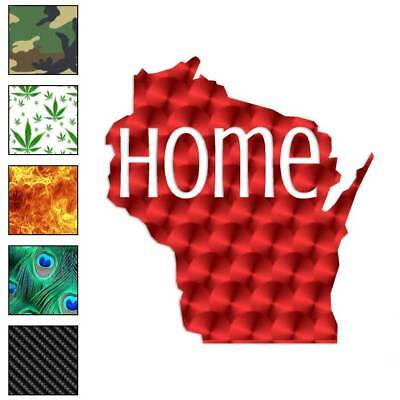 Wisconsin Home State Decal Sticker Choose Pattern + Size #3851