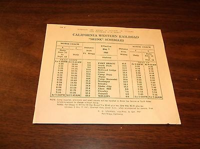"May 1961 California Western Railroad ""skunk"" Schedules"