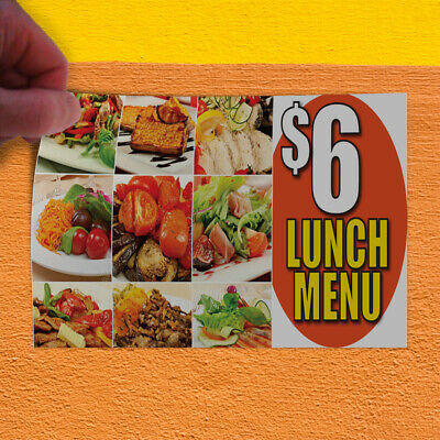 Decal Sticker $ 6 Lunch Menu Restaurant & Food Tasty Outdoor Store Sign White