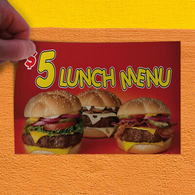 Decal Sticker $ 5 Lunch Menu Restaurant & Food Meat Outdoor Store Sign Red