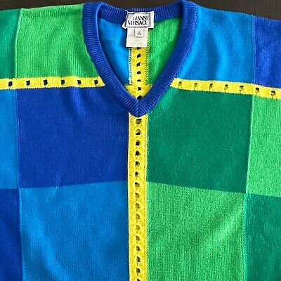 gianni versace blue green yellow wool v neck sweater italian size 52 v from 1994