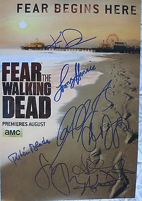 Fear The Walking Dead Cast Signed 12x18 Photo Cliff Curtis Kim Dickens +8 Dc/coa
