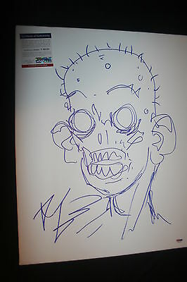 The Walking Dead Robert Kirkman 16x20 Signed & Sketch Canvas Psa/dna Coa (proof)