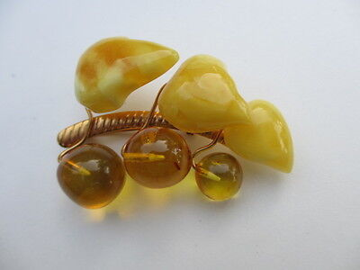 Vintage Russian Butterscotch Amber Leaves And Cherries Pin