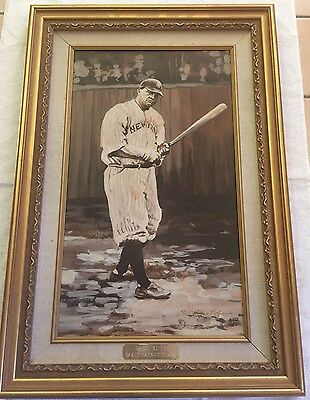 "Babe Ruth ""early Yankee Years"" Original Oil Painting Framed By Nancy White"