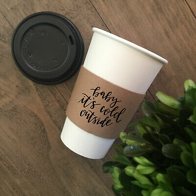 Natural Kraft Coffee Sleeves, White Cups And Black Lids - Printed Design Choice