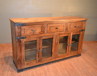 Rustic Solid Wood Sideboard Buffet  Console Table  Media Tv Stand
