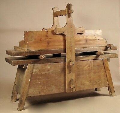 A Very Rare Wooden Mangling Table, For Mangling (ironing) Linen,19th Century