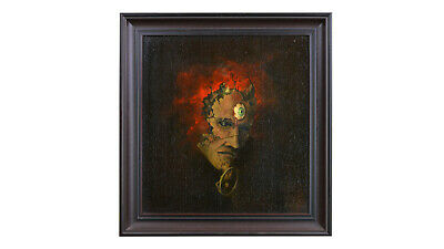 """Reduced - Very Unique Oil Painting By Thomas Vavrik """"demon Okultisma"""" Framed"""