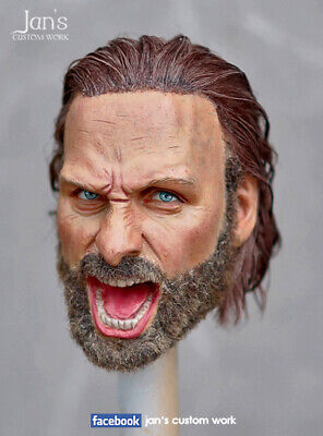 1/6 Hot Custom Repaint Rehair Toys Rick Grimes Walking Dead Action Figure Head