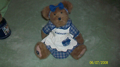"""12"""" Blueberry Bear ,& Yankee Candle With Topper"""