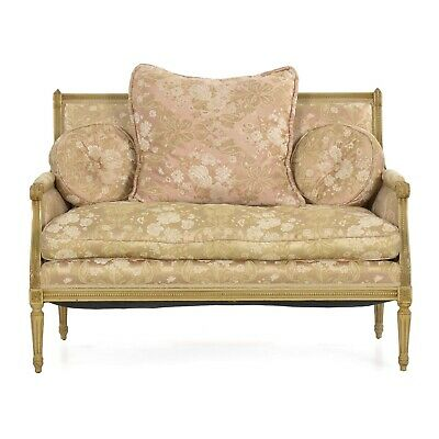 French Antique Sofa | Upholstered Settee Loveseat Louis Xvi Style, White Painted