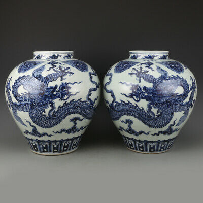 Chinese Old Marked Blue And White Lion Heads And Dragons Pattern Porcelain Jars