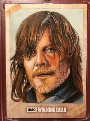 The Walking Dead Sketch Card Of Norman Reedus As Daryl By Louise Draper Ap 1/1