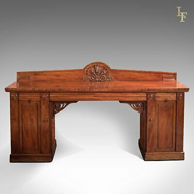 Large William Iv Antique Pedestal Sideboard In Mahogany C.1835