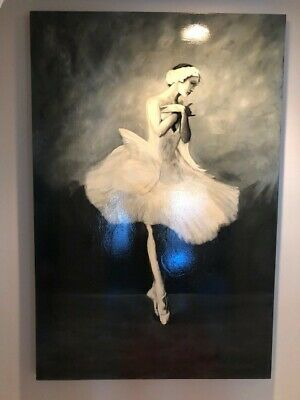 Beautiful Ballerina On Canvas 4ft X 6ft In Excellent Condition.