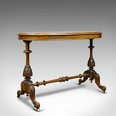 Antique Stretcher Table, Burr Walnut, English, Victorian, Oval, Side, Tea, C1860
