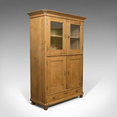 Vintage Two Door Bookcase, Cabinet, French, Pine, Cupboard, Circa 1960