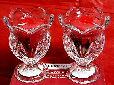Yankee Candle 2 True Rose Votive & Studio Crystal Glass Candle Holders New