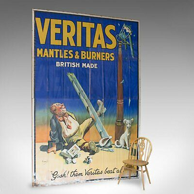 Very Large Antique Advertisement Poster, Veritas, Lithograph, John Hassall C1920