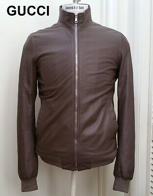 Gucci Leather Jacket Bomber Clay Brown Chocolate Coat Nr Red Green Crest 36 46 S