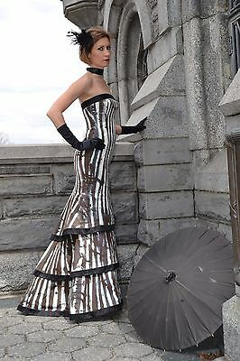 Ralph Lauren Purple Label Collection Black White Evening Gown Dress 0 2 4 New