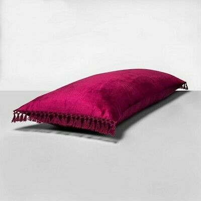 "Opalhouse Crochet Trimmed Velvet Body Pillow 49"" Magenta X Large Throw Bed  Nwt"