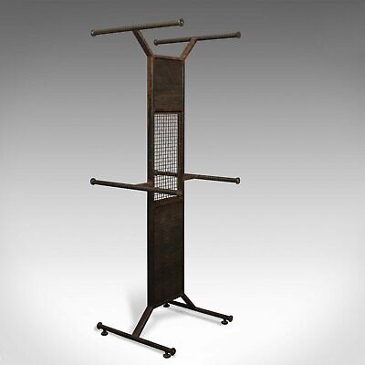 tall vintage display stand, english, steel, oak, fashion, retail, industrial