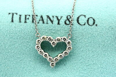 Tiffany & Co. Heart Diamond Pendant Necklace Platinum .80ct Medium Retired Rare