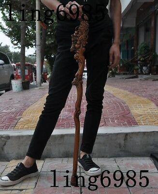 Chinese Old Wood Hand Carved Gourd Mantis Lucky Statue Crutch Cane Walking Stick