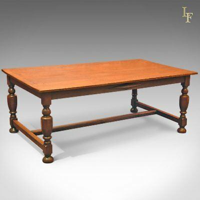 Large Antique Kitchen Table, Victorian Dining Oak C.1900