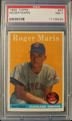 1958 Topps #47 - Roger Maris -n.y. Yankee Hof Of - Rookie Card - Psa 7 Near Mint