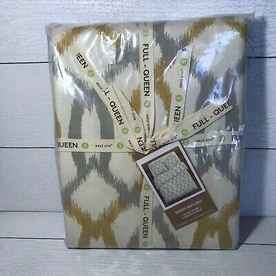 West Elm Cotton F Queen Duvet Cover Organic Ikat Links 2 Euro Shams Gray Mustard