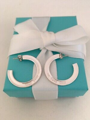 Tiffany & Co Sterling Silver 1837 Large Flat Hoop Earrings. Rare & Retired