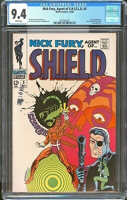 Nick Fury Agent Of Shield 5 / Cgc Blue 9.4 Nm  White Pages / Steranko /
