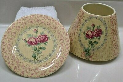 Yankee Candle~french Victorian/ Country Jar Shade & Plate Set  So Beautiful~rare