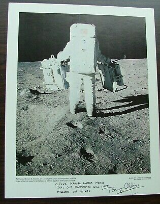 Over Sized Photo Inscribed &  Signed By Buzz Aldrin Walking On The Moon Space