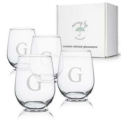 Monogrammed Stemless Wine Glasses Set Of 4, Barware Glassware With G