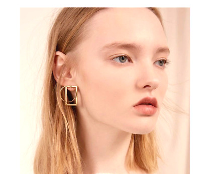 New Xmas Geo Geometric Gold Tone Statement Round Square Earrings Uk Seller